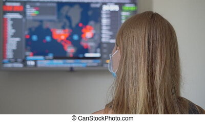 A young woman wearing a medical face mask looking at the screen where the numbers of people infected with the covid-19 virus in USA are shown. She is terrified by the data