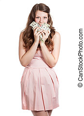 A young woman with money