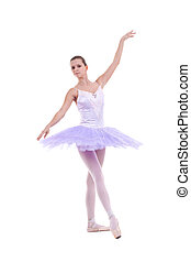 a young wonderful ballerina is dancing gracefully over white