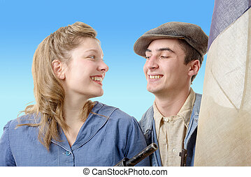 young worker couples in vintage clothing, 40s