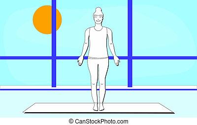 tree pose man with right leg bent bald man balancing in