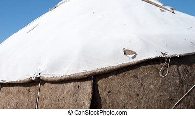 A Yurt from top to bottom in Uzbekistan - A close-up panning...