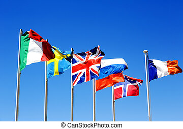 a, zászlók, közül, hat, országok