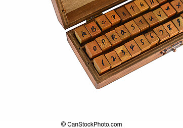 A-Z alphabet rubber stamp made by wood