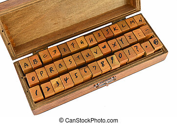A-Z alphabet rubber stamp