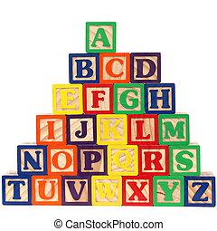 a-z, bloques, abc