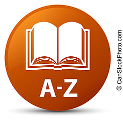 A-Z (book icon) brown round button
