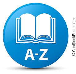 A-Z (book icon) cyan blue round button