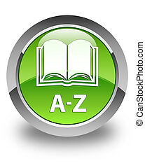 A-Z (book icon) glossy green round button