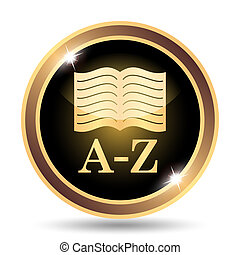 A-Z book icon. Internet button on white background.