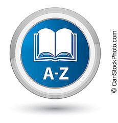 A-Z (book icon) prime blue round button