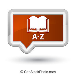 A-Z (book icon) prime brown banner button