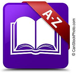 A-Z (book icon) purple square button red ribbon in corner