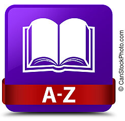 A-Z (book icon) purple square button red ribbon in middle