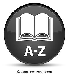 A-Z (book icon) special black round button
