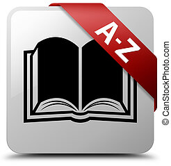 A-Z (book icon) white square button red ribbon in corner