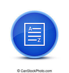 A-Z (list page icon) isolated on glassy blue round button abstract