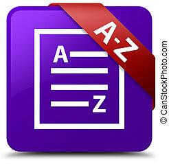 A-Z (list page icon) purple square button red ribbon in corner