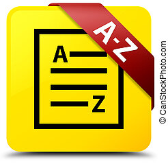 A-Z (list page icon) yellow square button red ribbon in corner