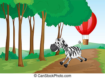 A zebra and a hot air balloon at the forest