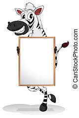 A zebra holding an empty board