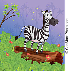 A zebra in the garden