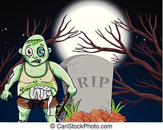 A zombie at the graveyard