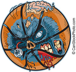A Zombie Basketball Vector Cartoon! Color elements are in a seperate layer in the .eps for easy customization!