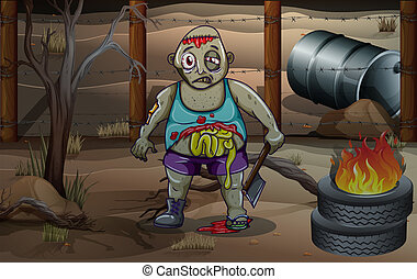 A zombie holding an axe near the burning tires
