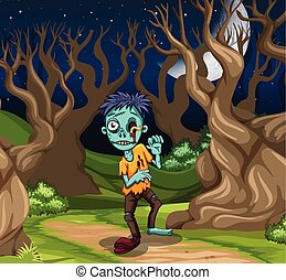 A zombie in the forest