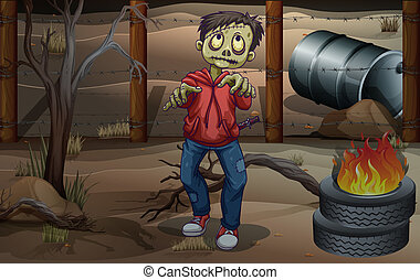 A zombie near the burning tires