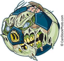 Zombie Soccer Ball Vector Cartoon