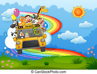 A zoo bus at the hilltop with a rainbow in the sky -...