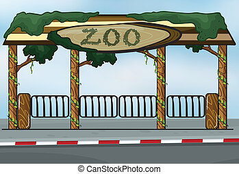 A zoo entrance - illustration of a zoo entrance near a...