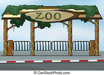 A zoo entrance - illustration of a zoo entrance near a...