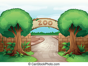 a zoo - illustration of a zoo in a beautiful nature