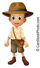 A Zookeeper with Hat on White Background illustration