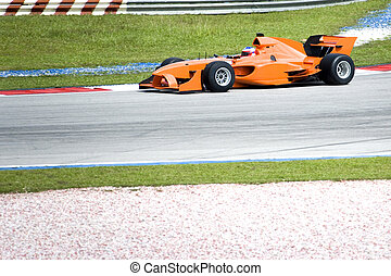 Image of an A1 Grand Prix car in action.