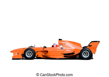 Isolated image of a grand prix car.