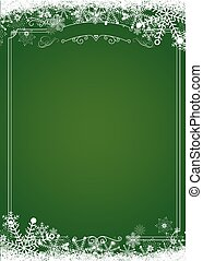 Christmas gradient green with retro border and winter snowflake