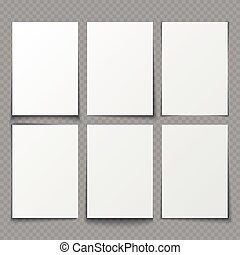 A4 blank sheets of white paper with different shadow effects. vector templates for presentation