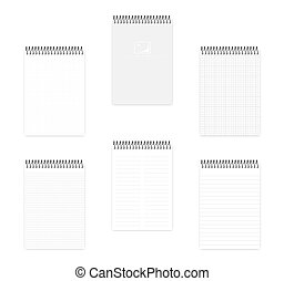 A5 top spiral notebook with various ruled paper, vector mock up
