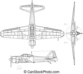 A6M Zero - high detailed vector illustration of old military...
