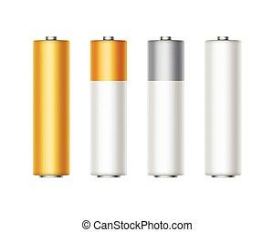aa, 金, セット, 灰色, 色, アルカリ, diffrent, の上, 黄色, 隔離された, 電池, ベクトル, グロッシー, 背景, 決め付けること, 終わり, 白, 銀