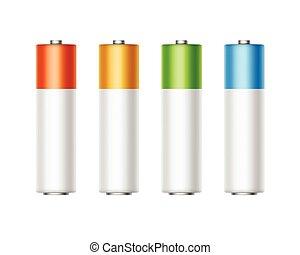 aa, 金, セット, 色, 決め付けること, 青, diffrent, 隔離された, 黄色, の上, 電池, ベクトル, 緑, グロッシー, 背景, アルカリ, 終わり, 白い赤