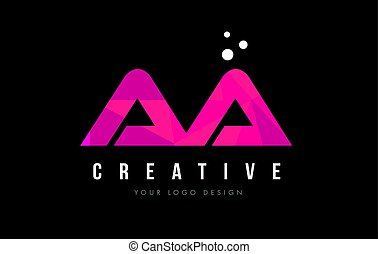 AA A Letter Logo with Purple Low Poly Pink Triangles Concept...