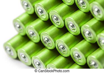 aa, aaa, of, batterijen, groene, stapel