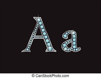 Aa Aquamarine Jeweled Font Jeweled