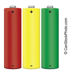 AA Battery - AA Alkaline Batteries Isolated in Red, Yellow...