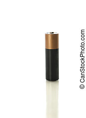 AA battery on white with clipping path